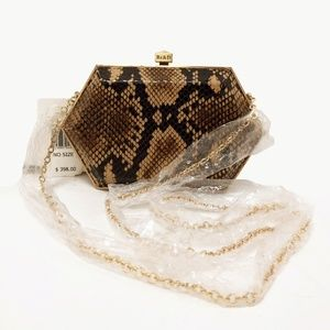 Be & D Snake Embossed Leather Clutch